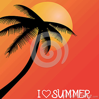Summer holiday whit palm trees.