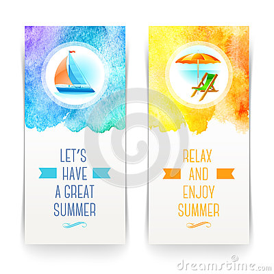 Free Summer Holidays And Travel Banners Stock Photo - 40289010