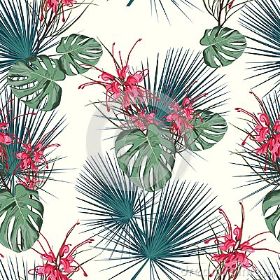 Free Summer Holidays Background With Tropical Flowers And Palm Leaves. Template Vector. Stock Photography - 120162142