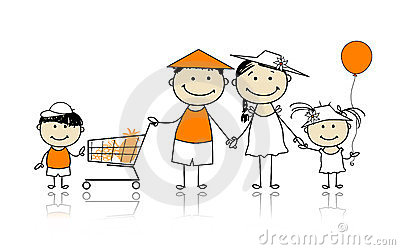 Summer holidays. Happy family with shopping basket