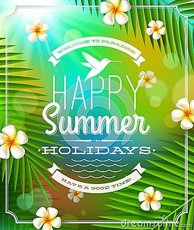 Summer holidays lettering emblem