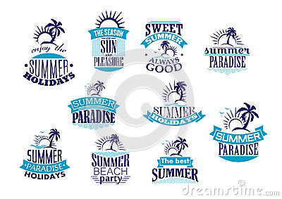Summer Holidays Retro Emblems And Logo Stock Vector ...