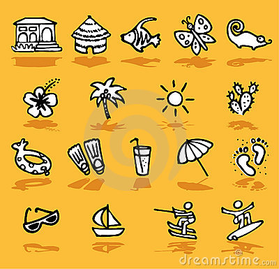 Summer,holidays,sun icons set