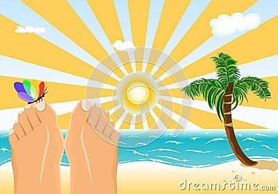Summer holidays sunbathing on a tropical beach