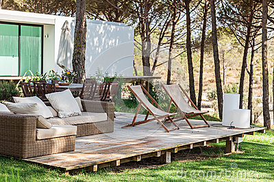 Summer House Deck With Chairs Royalty Free Stock Images
