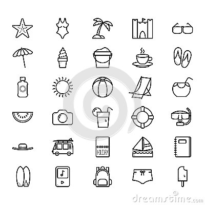 Summer icon set Vector Illustration