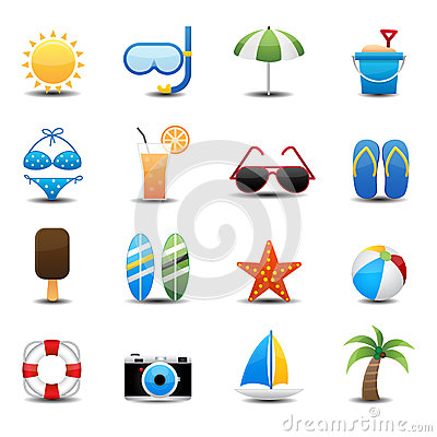 Free Summer Icons Royalty Free Stock Photo - 31980045