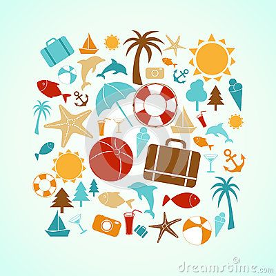 Free Summer Icons Stock Photography - 55471182