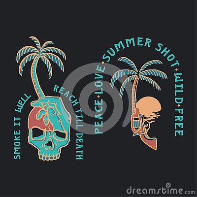 Free Summer Illustration Skull And Gun Tropical Royalty Free Stock Photos - 144898068