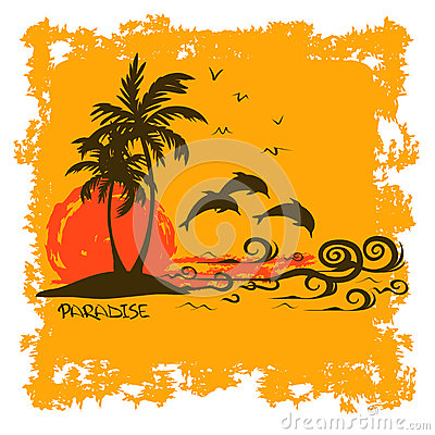 Free Summer Illustration With Tropical Island Stock Photos - 35298933