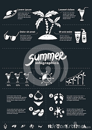 Summer infographics elements