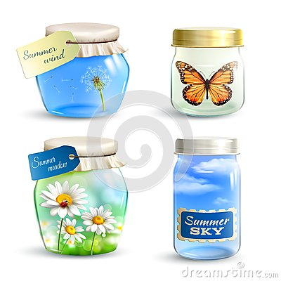 Free Summer Jar Set Royalty Free Stock Images - 52748539
