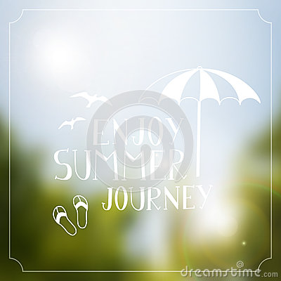 Summer journey handdrawing  vintage poster background