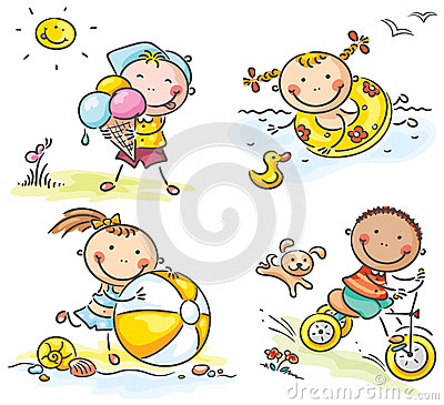 Summer kids activities outdoors Vector Illustration