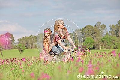 Summer kids on bike