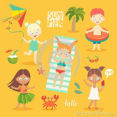 Free Summer Kids Set, Swimming, Playing On The Beach And Having Fun. Royalty Free Stock Photography - 120283437