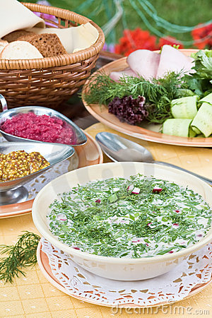 Free Summer Kvass Soup (okroshka) On Served Table Stock Image - 11435441