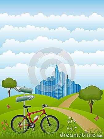 Summer landscape with a bike