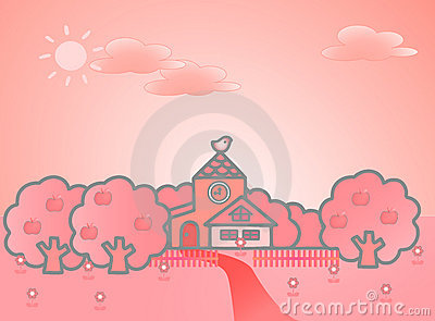 Summer landscape with cute tower