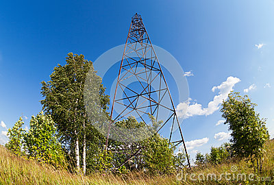Summer landscape with geodetic point