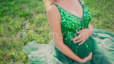 summer landscape juicy meadow young pregnant girl sitting grass bewitching long green dress large emerald 131265350