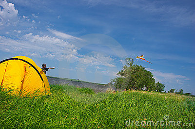 Summer landscape with kite