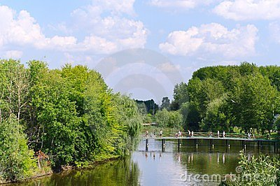 Summer landscape with river and bridge.Russia