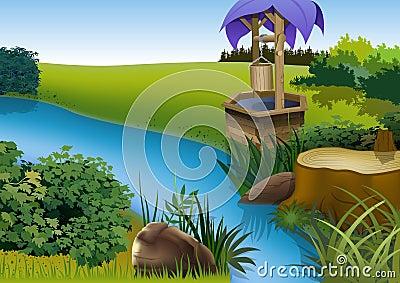Summer Landscape and Rivulet