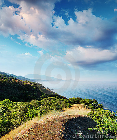 Summer landscape with the sea and mountains