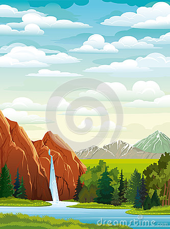 Summer landscape with waterfall