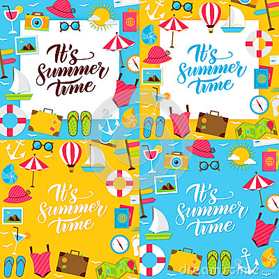 Summer Lettering Posters Vector Illustration
