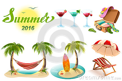 Summer 2016 lettering text. Set of objects symbol of summer vacation Vector Illustration