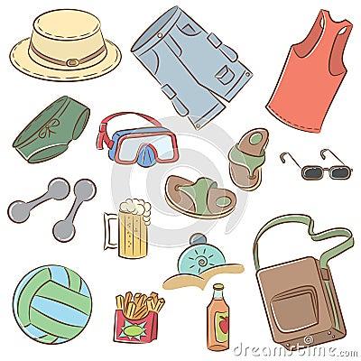 Summer man s vacation icons set