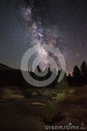 Free Summer Milky Way And Galactic Center With A Flowing River In Foreground In Tuolumne Meadows, Yosemite National Park Royalty Free Stock Photo - 82962045