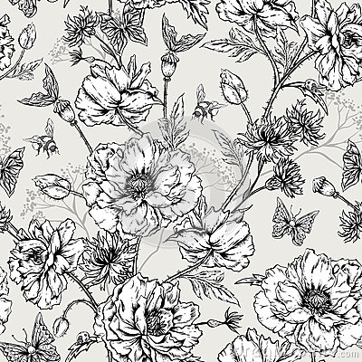 Free Summer Monochrome Vintage Floral Seamless Pattern Royalty Free Stock Image - 55315236