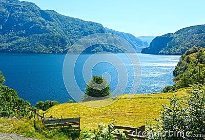 Summer mountain lake Suldalsvatn (Norway) Stock Photo