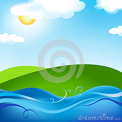Free Summer Nature Image With Sun Meadow And Sea Stock Photo - 26265920