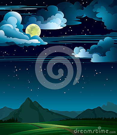 Summer night with full moon and mountains