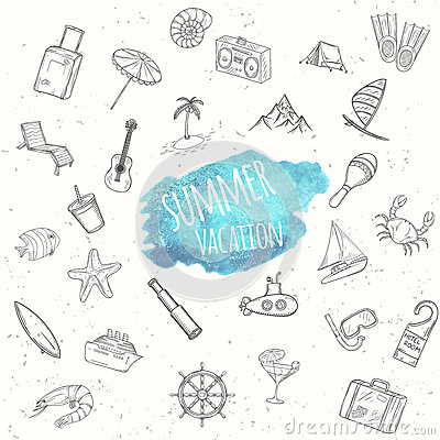 Summer objects set. Vacation background. Vector Illustration