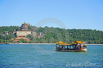 Summer palace with dragon boat Editorial Photography