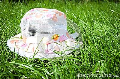 Summer panama on green grass