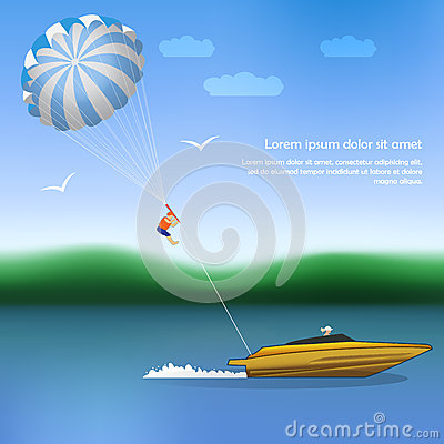Free Summer Parachuting Over River With Boat. Royalty Free Stock Photos - 49012738
