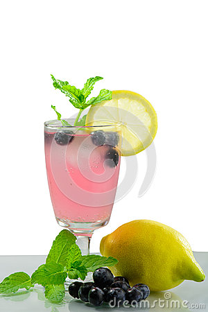 Free Summer Party Drink Cold Fresh Blueberry Lemonade Royalty Free Stock Photos - 55966608