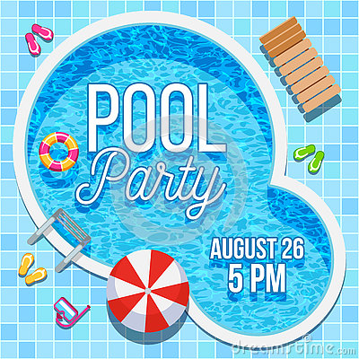 Free Summer Party Invitation With Swimming Pool Vector Template Stock Photo - 76452290