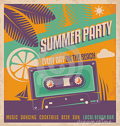 Free Summer Party Retro Poster Vector Design Stock Photography - 36795882