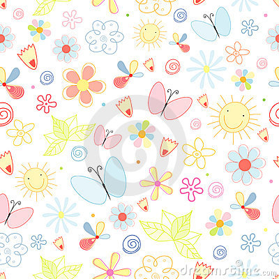 Free Summer Pattern Of Flowers And Butterflies Royalty Free Stock Images - 19264239