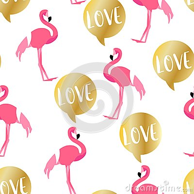 Free Summer Pattern With Cute Flamingo And Golden Text Cloud On White Background. Ornament For Textile And Wrapping Stock Image - 119583801