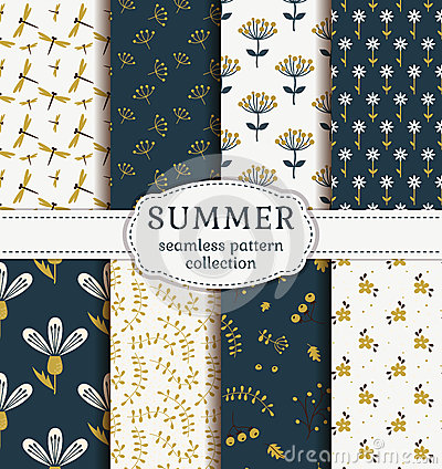 Free Summer Patterns. Vector Seamless Backgrounds. Royalty Free Stock Image - 65715876