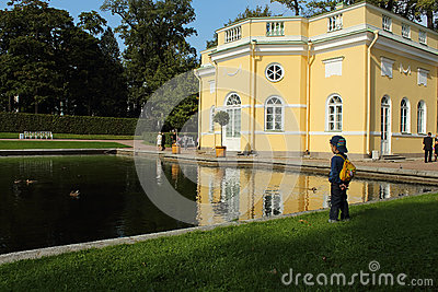 Summer pavilion on the shore of the Mirror Pond. Tsarskoye Selo, Russia. Editorial Photo
