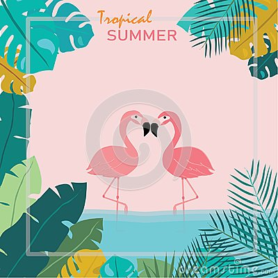 Summer Pink pastel flamingos stand in water and topical leaves as a frame, tropical summer concept Vector Illustration